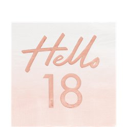 Hello 18 Rose Gold Foil Napkins - 33cm