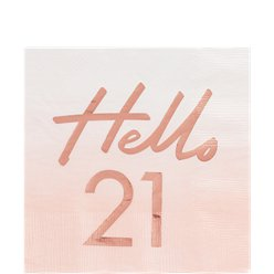 Hello 21 Rose Gold Foil Napkins - 33cm