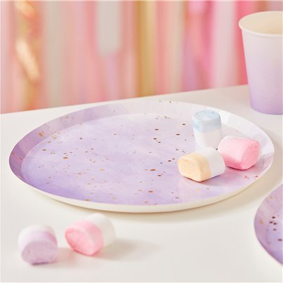 Gold & Lilac Ombre Paper Plates
