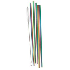 Rainbow Stainless Steel Reusable Straws & Brush