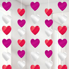 Valentines Heart Hanging Strings Decoration - 2.1m
