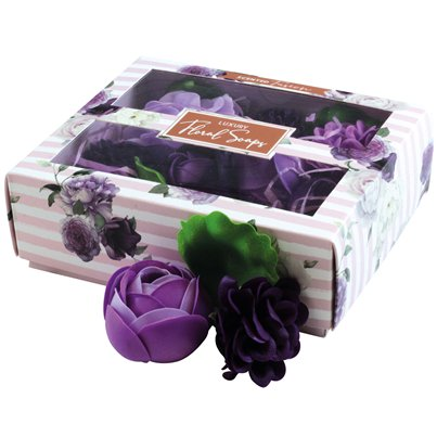 Luxury Boxed Scented Purple Floral Soaps