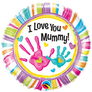 """I Love You Mummy"" Handprints Balloon - 18"" Foil"