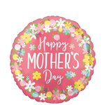 "Happy Mother's Day Floral Wreath Balloon - 18"" Foil"