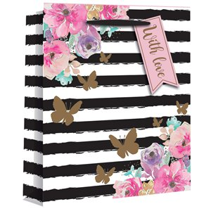Large Floral Stripe Gift Bag - 33cm