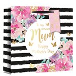 Mother's Day Floral Stripe Gift Bag - 25cm