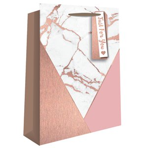 Rose Gold Marble Effect Perfume Gift Bag - 20cm