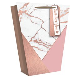 Rose Gold Marble Effect Vase Gift Bag - 25cm