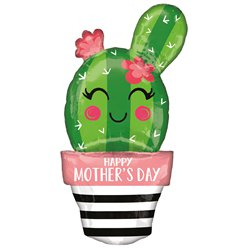 "Happy Mother's Day Cactus SuperShape Balloon - 35"" Foil"