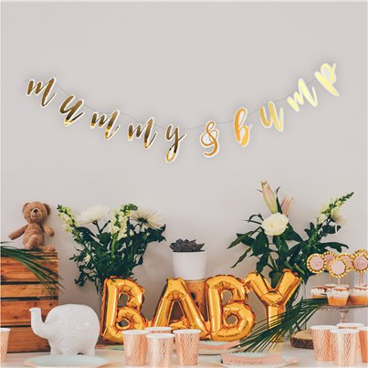 Mummy & Bump Gold Banner - 1.4m