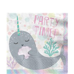 Narwhal Party Paper Napkins - 33cm