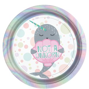 Narwhal Party Paper Plates - 23cm
