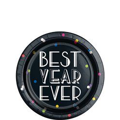 Neon Dots New Year Paper Plates - 18cm