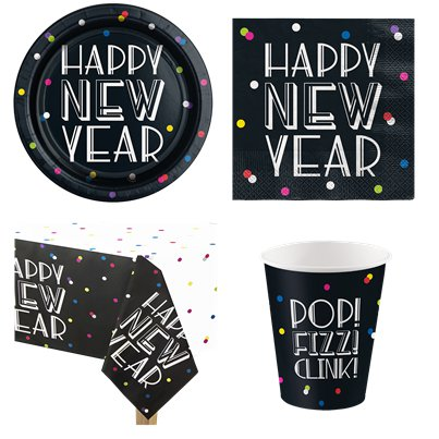 Neon Dots New Year Party Pack - Value Pack For 8