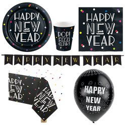 Neon Dots New Year Party Pack - Deluxe Pack For 8
