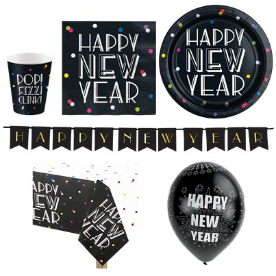 Neon Dots New Year Party Pack - Deluxe Pack For 16
