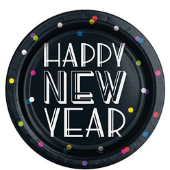 Neon Dots New Year Paper Plates - 23cm