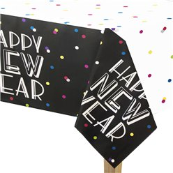Neon Dots New Year Plastic Tablecover - 2.13x1.37m
