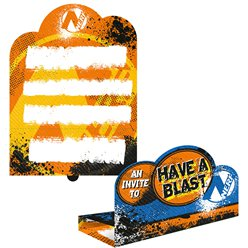 Nerf Party Invitations - Fold & Stand Invites with Envelopes