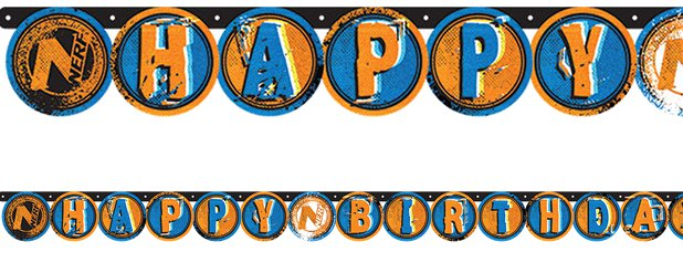 Nerf Party Birthday Letter Banner - 2.18m x 13.2cm