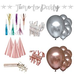 New Year Rose Gold & Silver Party Kit