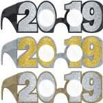 2019 New Years Glitter Glasses Multipack - Black, Silver and Gold