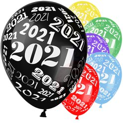 "New Year 2021 Assorted Balloons - 12"" Latex"
