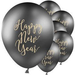 "Happy New Year Black & Gold Balloons - 12"" Latex"