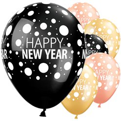 "Happy New Year Dots Balloons - 11"" Latex"