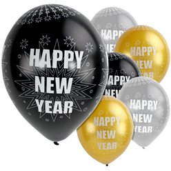 "Happy New Year Silver & Black Balloons - 11"" Latex"