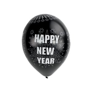 Happy New Year Sparkling Silver & Black Balloons - 11