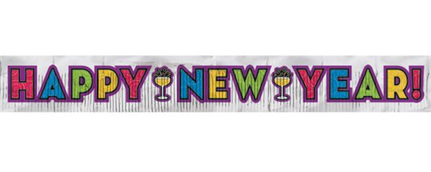 Large Glitter New Year Banner - 2.74m