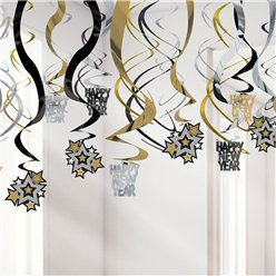 Metallic New Year's Eve Hanging Swirl Decorations - 60cm