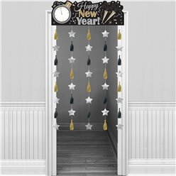 Metallic New Year's Eve Door Curtain - 1.95m