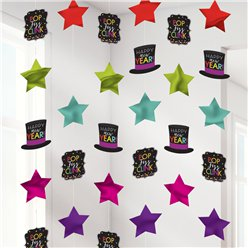 Colourful New Year's Eve String Decorations - 2m