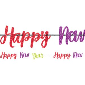 Colourful New Year Glitter Letter Banner - 3.65m