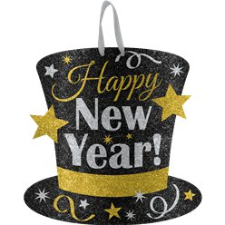 Metallic Glitter New Year's Eve Hanging Sign - 29cm
