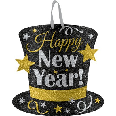 Metallic Glitter New Year Hanging Sign - 29cm