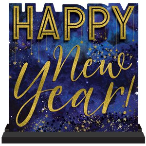 Happy New Year Wooden Sign - 28cm