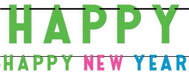 Happy New Year Colourful Letter Banner - 2.74cm