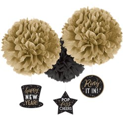 Happy New Year Pom Pom Decorations