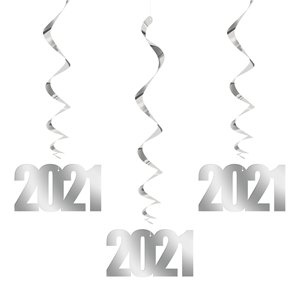 New Year's 2021 Large Hanging Swirl Decorations - 32