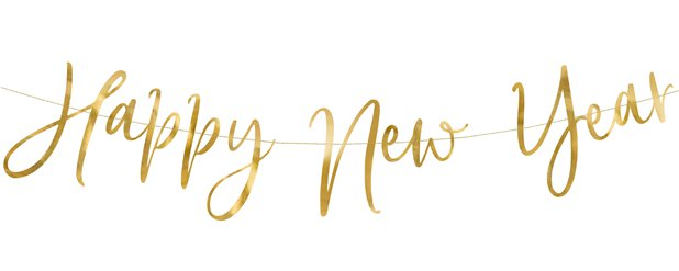Happy New Year Gold Foil Letter Banner - 66cm
