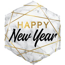 "Happy New Year Marble Hexagon - 20"" Foil"