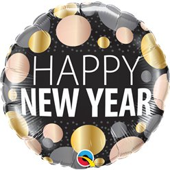 "Happy New Year Metallic Dots - 18"" Foil"