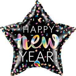 "Happy New Year Neon Iridescent Star - 20"" Foil"