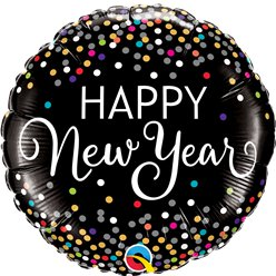 "New Year Confetti Print Balloon -18"" Foil"