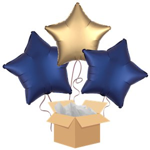 Navy & Gold Stars Balloon Bouquet - Delivered Inflated