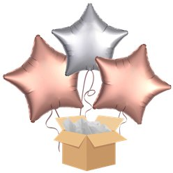 Rose Gold & Silver Stars Balloon Bouquet - Delivered Inflated