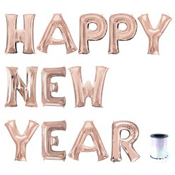 "Rose Gold Happy New Year Letter Balloon Kit - 16"" Foil"
